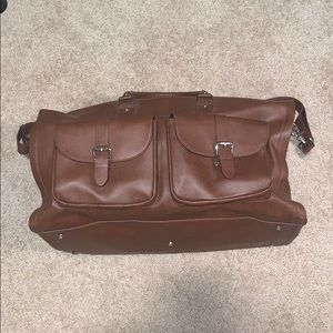 hook + ALBERT brown leather weekend garment bag